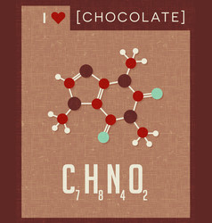 Retro poster chocolate molecule vector