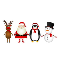 santa claus with reindeer snowman and funny vector image