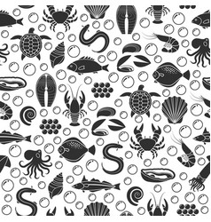 seafood and fish icons seamless pattern vector image