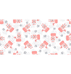 seamless nursery cat pattern with cute colorful vector image