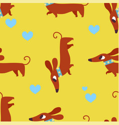 Seamless pattern with dachshund and hearts vector