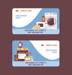 Service repairment visiting card repair of vector