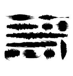 set black paint brush spots highlighter lines vector image
