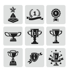 set black trophy and awards icons vector image