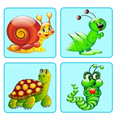 set icons with a grasshopper caterpillar vector image