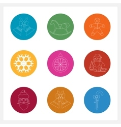 Set of Colorful Round Linear Icons vector image