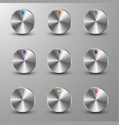 set of metallic buttons vector image