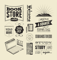 set vintage design elements for bookstore vector image