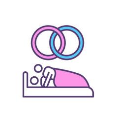 Sex after marriage rgb color icon vector