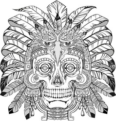 skull of native american vector image