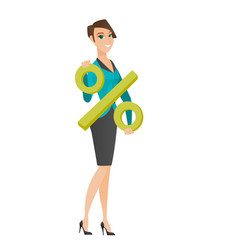 Smiling business woman holding percent sign vector