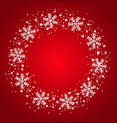 Snow border circle frame christmas texture vector