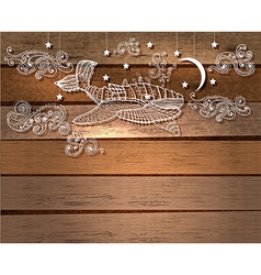 Steampunk whale in night sky with stars and moon vector