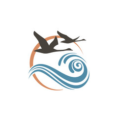 swans and waves icon vector image