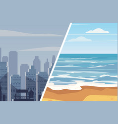 template for advertising two landscapes to compare vector image
