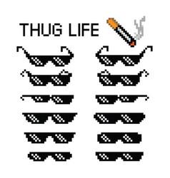 Thug life glasses 8 bit pixel vector