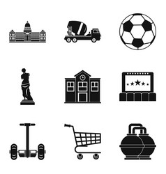 townplanning icons set simple style vector image