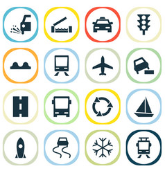 Transportation icons set with uneven way vector