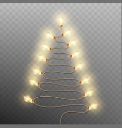Tree formed garland lights on transparent vector