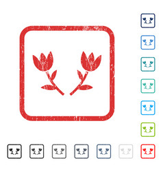 Tulip flowers icon rubber watermark vector