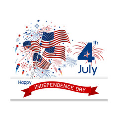 usa 4 july independence day design on white backgr vector image