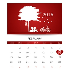 Valentines day 2015 Calendar February vector