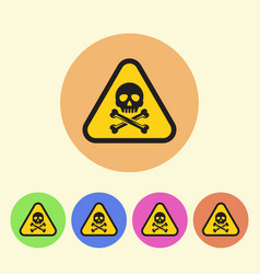 warning sign flat style round colored icons vector image