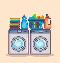 Washing machine with washing powder and clean vector