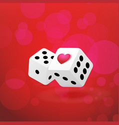 with couple of dice with heart vector image
