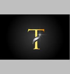 Yellow gold alphabet letter t logo company icon vector