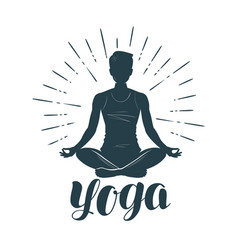 Yoga logo or label fitness meditation symbol vector