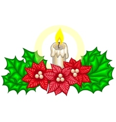 Christmas decoration with fir branches and candle vector image