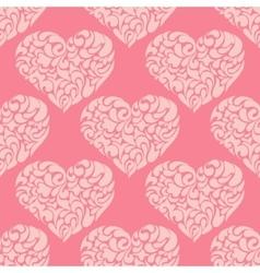 cute vintage pink heart pattern vector image vector image