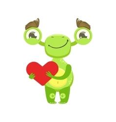 Funny monster smiling holding red heart green vector