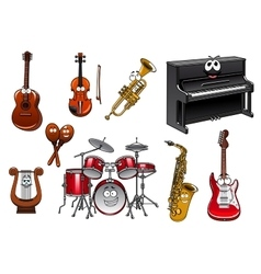 Funny musical instruments cartoon characters vector image vector image
