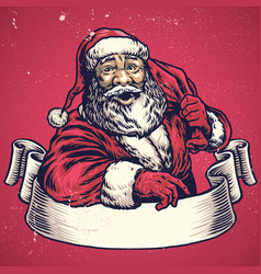 hand drawing of santa claus with text space on vector image vector image