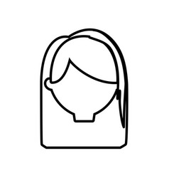 head female girl line vector image vector image