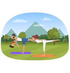 parents with daughter kid does yoga various vector image vector image