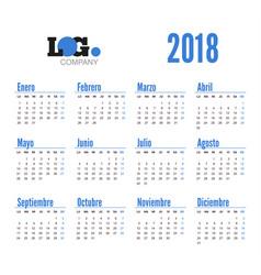 spanish horizontal calendar on 2018 year vector image
