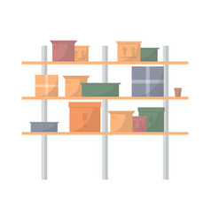 storehouse stand with delivery boxes vector image vector image