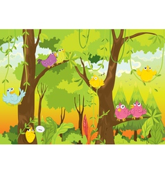 birds in forest vector image vector image