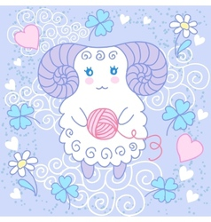 Cute sheep on a meadow vector image vector image