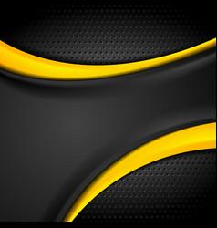 dark orange black tech wavy abstract background vector image vector image