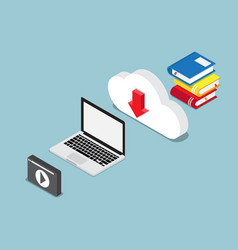education online concept books lesson on cloud vector image vector image