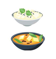 porridge plate in bowl isolated on white vector image vector image