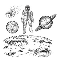 sketch space icon set ink hand drawn vector image