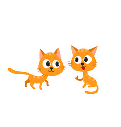 two cute funny naughty playful red cat vector image