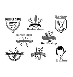 barber shop icons set templates vector image vector image
