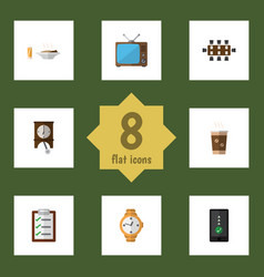 flat icon life set of cellphone timer clock and vector image vector image