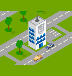 police building car isometric vector image vector image